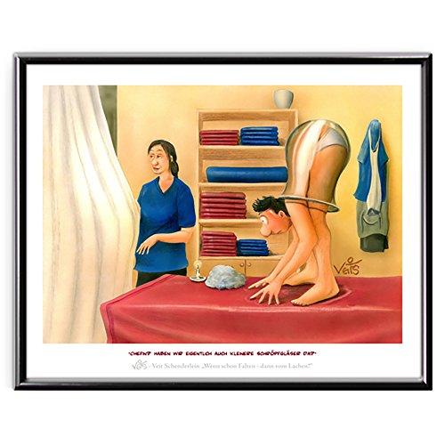 Veit`S Bilder Wandbild Cartoon Physiotherapie Schröpfen Verspannung - haben wir auch kleinere Schröpfgläser da? (Mittel 40x50mit Rahmen)