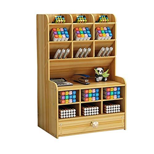 Dyna-Living Schreibtisch-Organizer aus Holz, multifunktionale Schublade Organizer,Aufbewahrungsbox aus Holz,15 Stifthalter und eine Schublade Organizer,Geeignet für Zuhause/Schule/Büro. (Kirschholz)