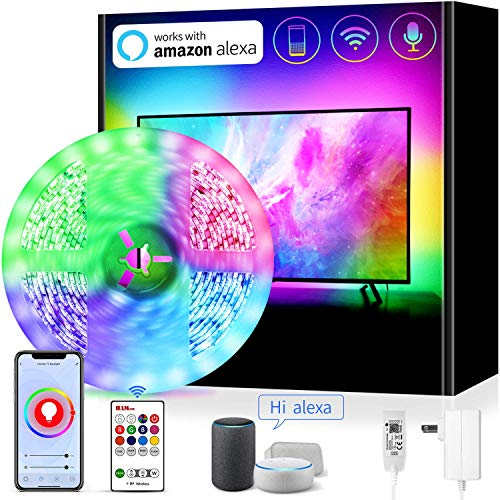 Smart WiFi LED Strip Lights Work with Alexa TV LED Backlight 65 70 72 Inch TV Light Strip App Controlled with Remote, Colors and 6500K Pure White, Google Home IFTTT Enabled,14ft