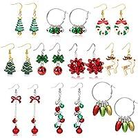 10-Pairs Huasai Women's Christmas Earrings