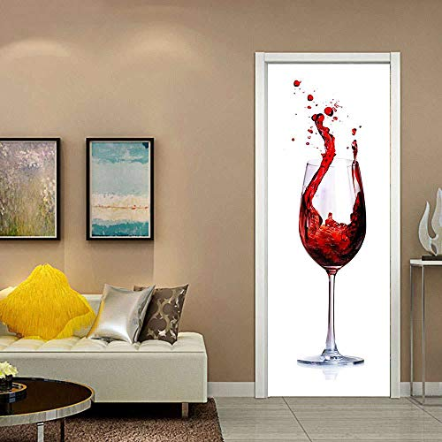 YQLKD Puerta Wallpaper Murales 3D Papel Pintado Impermeable Autoadhesivo del Cartel De La Etiqueta Engomada De La Pared del PVC De La Copa De Vino Tinto
