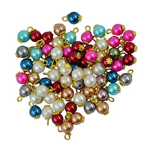 kowaku 50 Piezas de Perlas de Vidrio de Colores, Colgante Hecho a Mano, Collar, Pulsera - Oro, Individual
