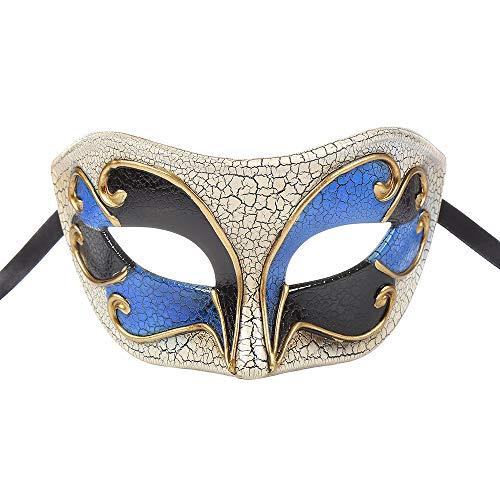 BLEVET Vintage Uomo Maschera Veneziana Halloween Mardi Gras Festa Maschera MZ057 (Black)