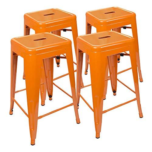 CYLQ barkruk voor de keuken, hoogte van de teller, metaal, buiten, stapelbaar, vrij van rug, hoge stoel, industriële stijl, 4 stuks, oranje, 45 cm/61 cm/66 cm/76 cm