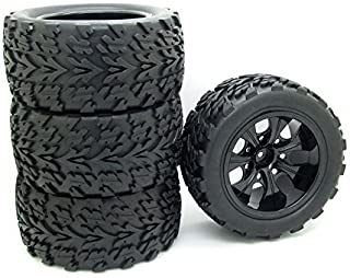 4x 1:10 RC Monster Truck Car Wheel Type Tires with 7 Spokes Wheel Rim Black RC Parts