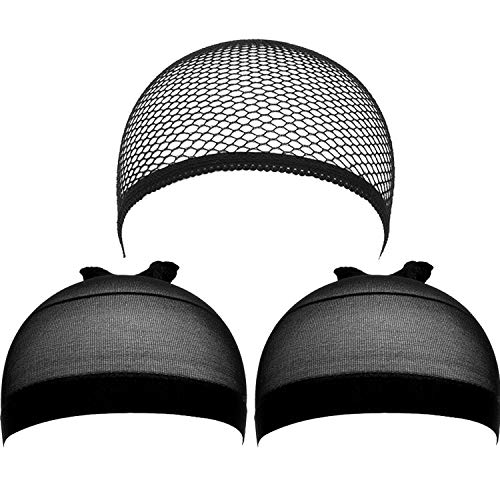 eBoot 3 Pack Wig Caps (Black Nylon Caps and Black Mesh)