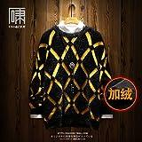 日系、ファッション、けだるい風、菱形のセーター、男性の復古のつづり合わせ、ダウンをプラスして厚いニット、男装の中で合わせます (XL,black Velvet)