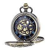 Pocket Watch Antique Dragon Mechanical Skeleton SIBOSUN Double Cover with Chain Men - Bronze Blue
