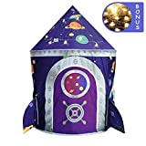 LOJETON Rocket Ship Play Tent - Premium Space Castle Pop Up Kids Playhouse with Star Lights - Unique Space and Planet Design for Indoor and Outdoor Fun - Imaginative Toy & Gift for Boys Girls