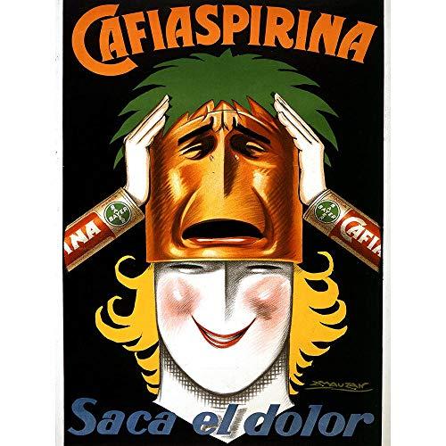 Wee Blue Coo Advert Medicine Aspirin Bayer Argentina Woman Mask Smile Art Print Poster Wall Decor Kunstdruck Poster Wand-Dekor-12X16 Zoll