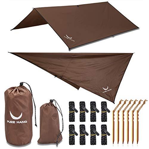 PURE HANG Premium Zeltplane Tarp 3x3 für Hängematte Outdoor Camping 100{13e20e9e36ddb9188a99863e38167c9aea9dabbeac42db92ea348f66d71f8389} Wasserdicht mit Ösen Sonnensegel Strand Ultra-Leicht Sonnenschutz UV Schutz Regenschutz