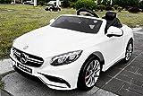 Vehículo infantil con licencia, Mercedes Benz S63 AMG 2 x 35 W 12 V MP3 RC coche eléctrico infantil controlado por radio (Producto con enchufe de UK), 1191148, blanco