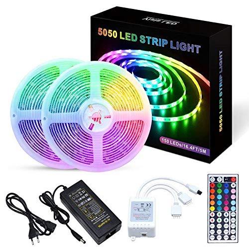 WUERQIE 10M Tiras LED -300 leds 5050 RGB SMD,mpermeable IP65,Control Remoto de 44 Claves y Receptor,Usado para Restaurante, Cocina, Porche, Oficina,Fiesta [Clase de eficiencia energética A+++]