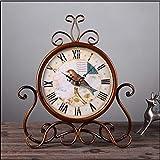 MYYXGS Reloj De Mesa Reloj Europeo PequeñO Reloj Digital Sin CaíDa Silencioso Sala De Estar Dormitorio Reloj De Pared De Metal Reloj Decorativo De Hierro