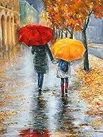 DIYデジタル絵画Diyデジタル油絵壁画家の装飾アクリル画赤い傘と黄色い傘40X50cmcm