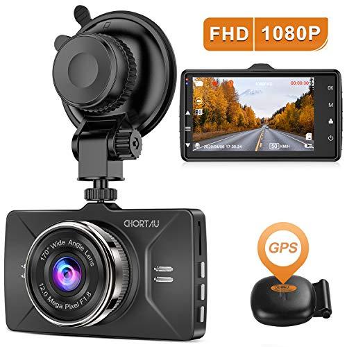 【2020 Nouvelle Version】 CHORTAU Dashcam Voiture GPS Full HD 1080P, Caméra Embarquée Voiture Grand Angle 170°, Écran 3 Pouces - Dash Cam avec Module GPS, Enregistrement en Boucle