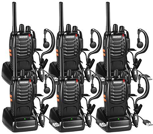Nestling Funkgerät Set,BF-88E Walkie Talkie 16 Kanäle Sprechfunkgerät Funktelefon in beiden Richtungen,Funksprechgerät Eingebauter LED Taschenlampe mit USB Anschluß und Headset(6er Set)