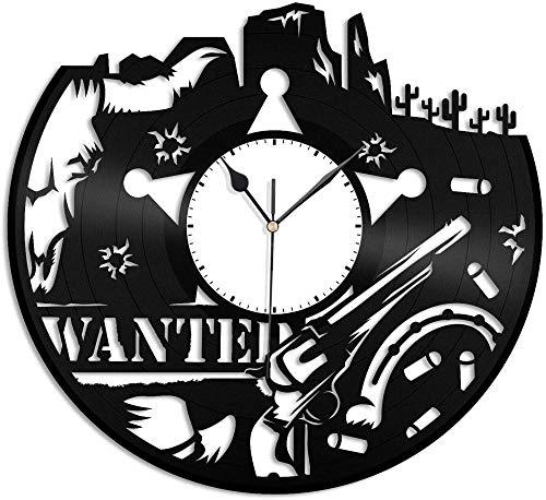 KDBWYC Reloj de Pared de Vinilo del Salvaje Oeste, decoración de habitación de Amigos, decoración de habitación de Oficina de diseño Retro, decoración del hogar