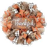 Clearance Thankful Wreath | Happy Fall Thanksgiving Deco Mesh Front Door Wreath; Brown Orange Burlap White