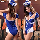 DFRQ Women's Exotic Dresses Exotic Costumes Flight Attendant Uniform Professional wear cospl Anime Game Cosplay Blue Siamese-Blue One Size