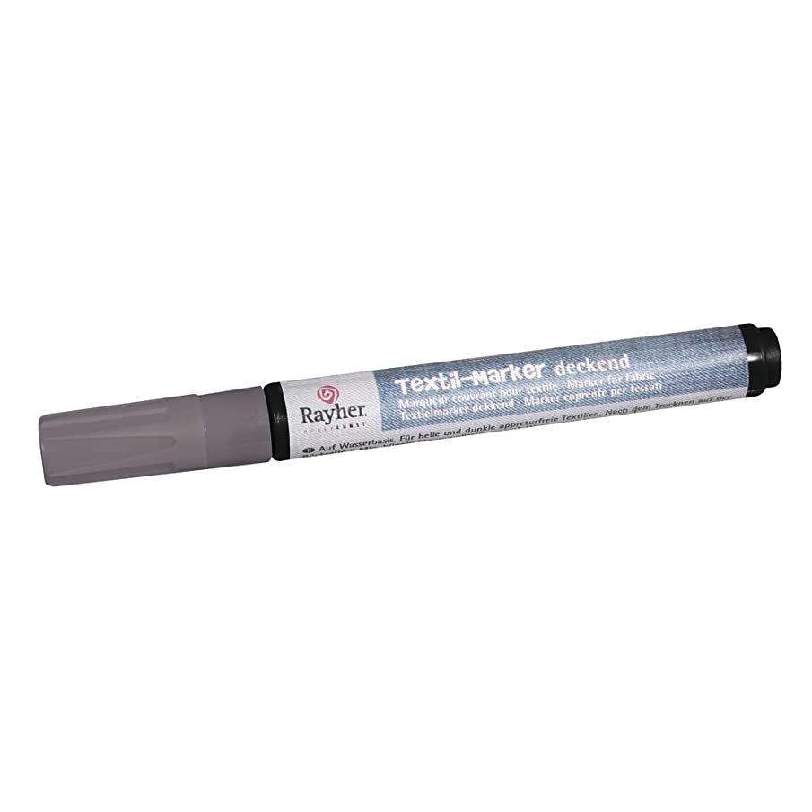Rayher Fabric Marker Opaque, Round Point 2 mm-4 mm, with Valve, Silver, 12.3 x 1 x 1.4 cm