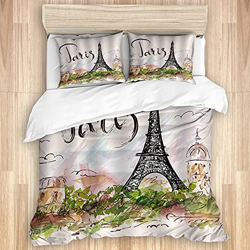 TARTINY Sábana de Funda nórdica,Acuarela Urban Outfitters Dibujado a Mano Colorida Torre Eiffel de París y Arquitectura Paisaje de la Ciudad, Juego de Cama Suave de Lujo de 3 Piezas Tamaño Gem