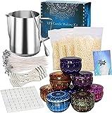 JEMESI Kit de Fabrication de Bougies, DIY Kit Bougies pour Débutants, 500g Cire d'abeille, 50 mèches de Bougie,1 Pot de Fabrication, 8 boîtes de Pots, 1 cuillère, 2 Supports et Manuel