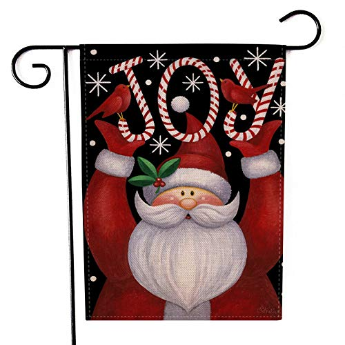 Anbys Christmas Garden Flag Santa Claus Double Sided for Outside Vertical Burlap Rustic Farmhouse Yard Home Garden Decor (12 x 18 Inch)