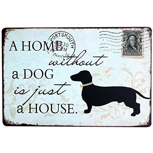 Lumanuby 1x Deko Wandschild von Schwarz Hund für Hause Metall Schild mit Wort 'A Home Without A Dog is just A House' Postkarte Form Wand Deko Geschenk für Hund Liebhaber, Bar Sprüche Serie 20 * 30cm