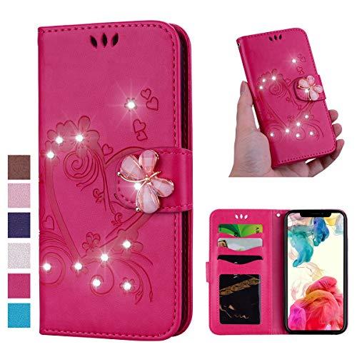 V-Ted Custodia Cover per Apple iPhone 6S 6 Glitter Brillantin Diamante Portafoglio in Pelle a Libro Antiurto 360 Gradi Modello Disegno Leather Wallet Flip Case - Farfalla Cuore Rose Rot