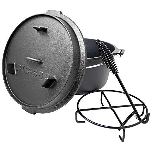 ToCis Big BBQ Premium Dutch Oven 9.0 Gusseisen eingebrannt 12er Kochtopf mit Deckelheber Deckelständer ohne Füße