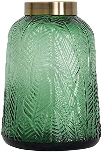 Vase Dekoration Grüne Transparente Blätter Glasvase Dekoration Kupferring Geschnitzte Hydroponische Blüten Wohnzimmer Floral JXLBB (Color : B)