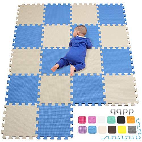 qqpp Alfombra Puzzle para Niños Bebe Infantil - Suelo de Goma EVA Suave. 18 Piezas (30 * 30 * 1cm), Azul & Beige.QQC-GJb18N