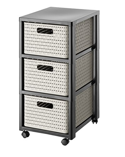 Rotho  Tower Country  Rollcontainer mit 3  Schubladen in Rattan - Optik, Kunststoff (PP), schwarz / cappuccino, (37,5 x 32,5 x 71,2 cm)
