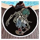 KKDS Toalla de Playa Cráneo Digital Imprimir Redondo Playa Adult Toallas con Borla Secado rápido Absorbente Manta de Ducha Manta de Toalla para Playa, decoración (Color : A, Size : 150cm)