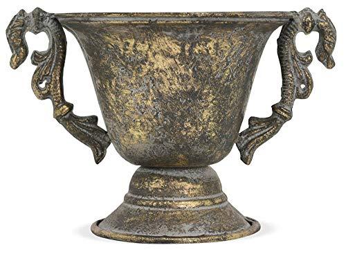 matches21 Pflanztopf Pokal Kelch Antik Rustikal Blumentopf Übertopf Metall Gold gebürstet Pflanzgefäß 1 STK 17x15 cm