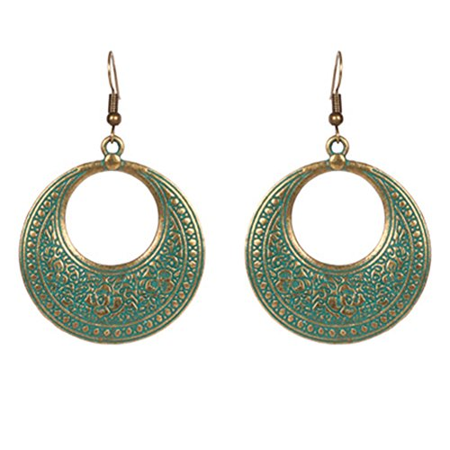 Gespout Boucles d'oreilles Femme fantaisie Rétro vert Alliages Élégant Accessoires de bijoux Fête de danse Argente Cadeau d'anniversaire