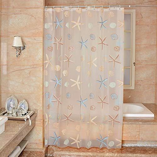Douchegordijn, zeerand, waterdicht, helder, voor badkamer, schimmel, modern, met 12 haken 180 * 180cm Veelzijdig te gebruiken.