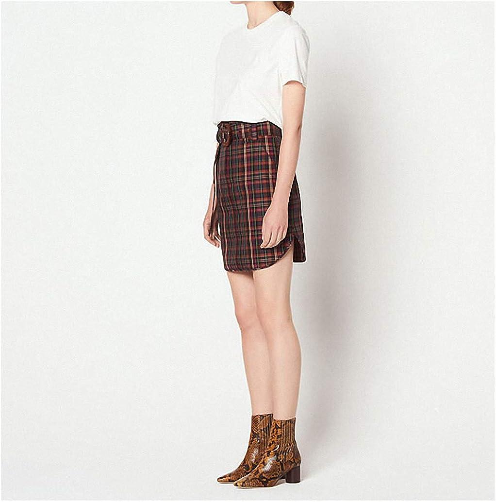 Dawery Women's Mini Skirt Plaid Ladies Split Short Skirt with Belt Autumn Winter Casual