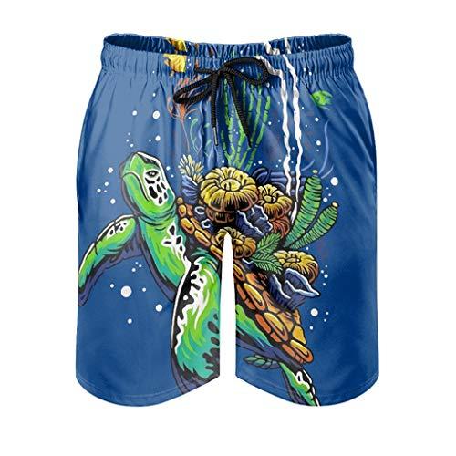 Dessionop Bañador para hombre, diseño vintage de tortuga marina, con forro de bolsillo, color blanco, talla XL