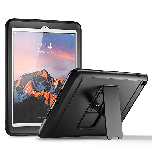 YOUMAKER New iPad 9.7 Case 2018/2017, Heavy Duty Kickstand with Built-in Screen Protector Full-body Shockproof Protective Case Cover for Apple iPad 9.7 inch 2017/2018 5th/6th Gen (Black/Black)