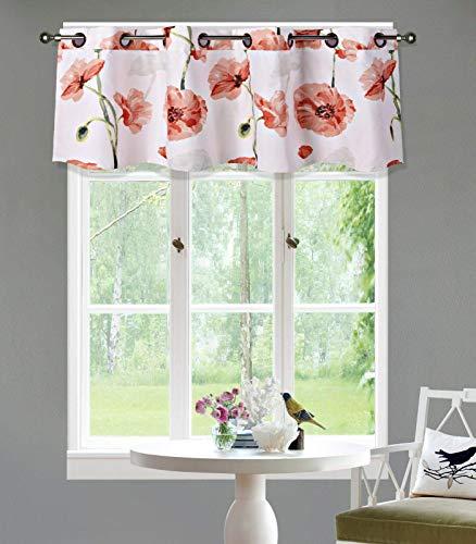 LinenTopia 1 PC Grommet Floral Valance Curtain, Decorative Orange Floral Print, Soft, Light Filtering Room Darkening Thermal Foam Back Lined, Window Valance Decoration, (Madi, 16, Orange)