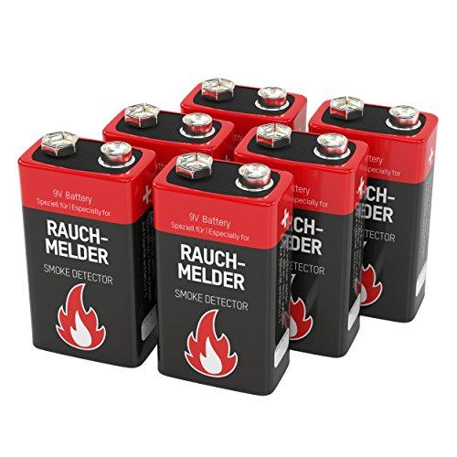ANSMANN batterij speciaal voor rookmelders Brandmelder Brandmelder CO-melder LongLife alkaline 9V E-blok 6LR61 6AM6 MN1604 Rookmelderbatterij 7 jaar levensduur Verpakking van 6 wit/rood