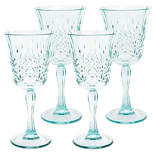 BELLAFORTE - Shatterproof Tritan Wine Glass Teal, 10oz, Set of 4, Myrtle Beach Tritan Dishwasher safe Plastic wine glasses, Glassware for indoor and Outdoor Use, BPA free