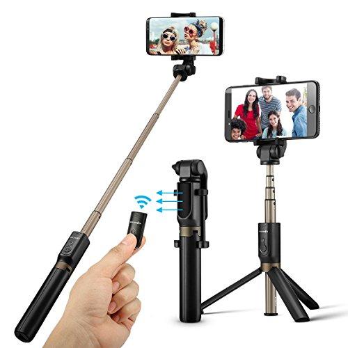 BlitzWolf Bluetooth Selfie Stick Stativ, 3 in 1 Erweiterbar Monopod Wireless Selfie-Stange Stab 360°Rotation mit Bluetooth-Fernauslöse für iPhone Android Samsung 3,5-6 Zoll Smartphones(Schwarz)