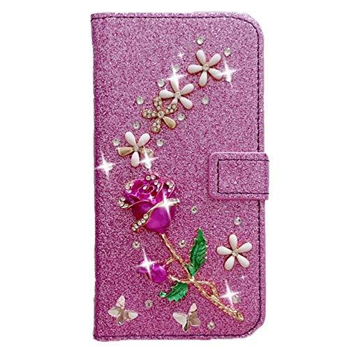 Capa carteira XYX para Samsung Galaxy J6 Plus, [flor rosa 3D] couro PU cintilante capa carteira para mulheres e meninas, roxo