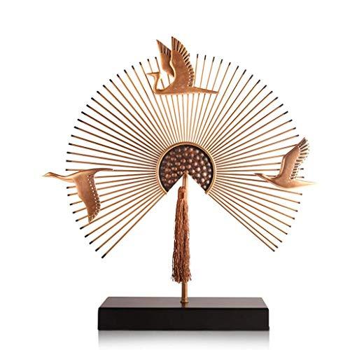 NHLBD Home decoratie/Feng Shui tafel Ventilator Halfronde Zwaan Vorm Ornamenten Sculptuur Woonkamer Slaapkamer Porch Hotel Bar Decoratie B: 45 cm × 11 cm × 48 cm