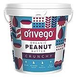 ORIVEGO Mantequilla de cacahuete crujiente y orgánica, 1kg – Crema de cacahuete 100% natural, vegana, sin azúcar y con certificación de producto orgánico