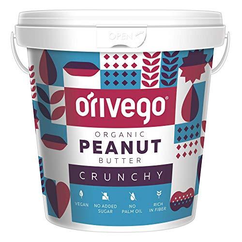ORIVEGO Burro di Arachidi Organico Croccante, 1kg - 100% Naturale, Vegano e Senza Zucchero