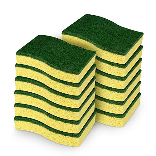 AIDEA Heavy Duty Scrub Sponge, Heavy Duty Cellulose Sponge, Cleans Fast Without Scratching, Cleaning Power for Everyday Jobs for Dishes, Pots, Pans, 12 Scrub Sponges